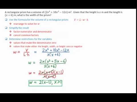 6 6 Width of Rectangular Prism Given Volume, Height, and Length