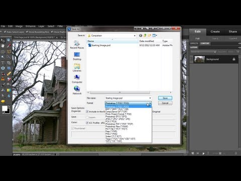 Photoshop Elements 10 - Select File Type to Save an Image