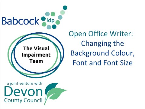 Changing the background colour, font and font size settings in Open Office Writer.