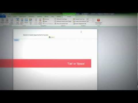 Microsoft Word 2010: Add Header with Page Number