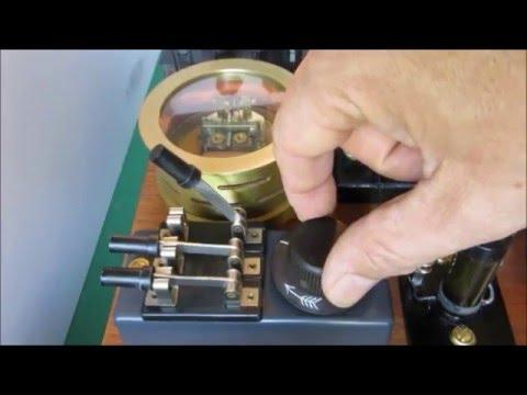 spark gap transmitter, coherer and telegraph (Experimente zur Funkentelegraphie)