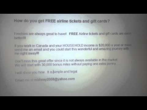 How to get FREE airline tickets and gift cards