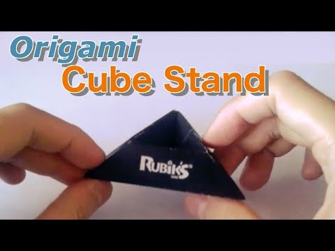 How to fold an origami Rubik's cube stand. (Yo shiny)