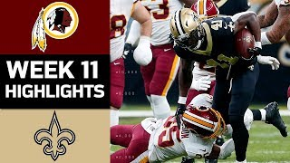 Redskins vs. Saints | NFL Week 11 Game Highlights
