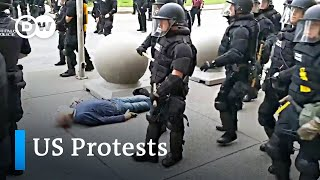 Police officer suspended after shoving elderly protester to the ground   US protests
