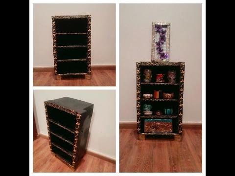 How to make cardboard shelf/ #DIYcartonfurniture/DIY makeup/jewellery shelf/ Estante de cartón