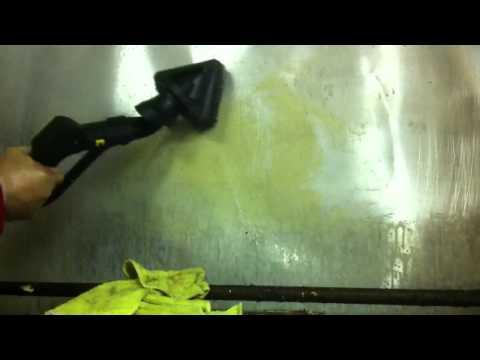 Dry steam cleaning aluminum backsplash