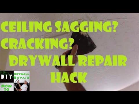 How to Fix Sagging Drywall Ceiling Crack Repair Trick- Drywall Finishing- Skip Trowel Repair Match