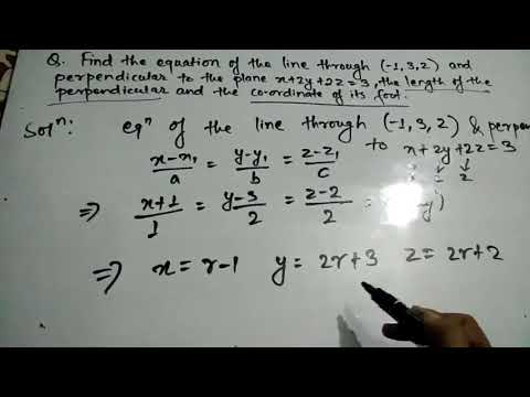 Finding Straight Line equation, length and foot if it is perpendicular to a plane | Straight line