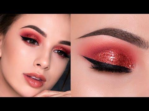 RED Glitter Smokey Eye | HOLIDAY Makeup Tutorial