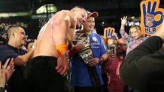 John Cena celebrates his historic 16th World Title win with a Make-A-Wish member