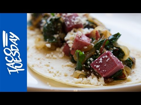 Taco Tuesday with Rick Bayless: Tongue Tacos with Greens and Caramelized Onions