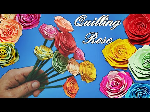 Quilling Rose | How To Make A Paper Rose With Paper Strips  | DIY Paper Rose