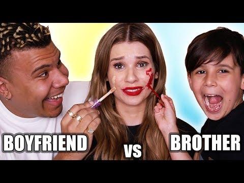 Boyfriend VS Little Brother MAKEUP CHALLENGE!
