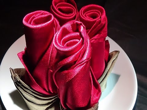 For that special occasion! Rose napkin folding: Long Rose Bud & Short Rose Bud.