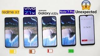 Realme XT Vs VIVO Z1x Vs Samsung A50s Vs Note 7 Pro Battery Drain Comparison