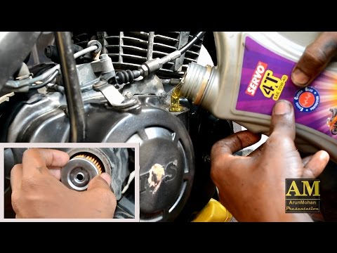 MOTORCYCLE ENGINE OIL CHANGE AND OIL FILTER CHANGE   TVS APACHE RTR   BIKE