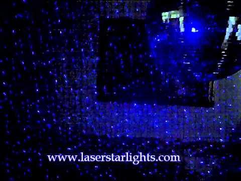 Blue Laser Starlights on Disco Ball and Wall ~ www.LaserStarLights.com