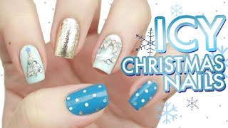 Icy Crystal Blue Christmas Tree & Wreath Nail Art