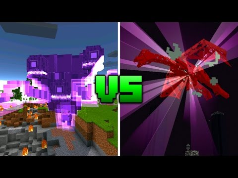 Wither Storm vs Ender Dragon in Minecraft Pocket Edition