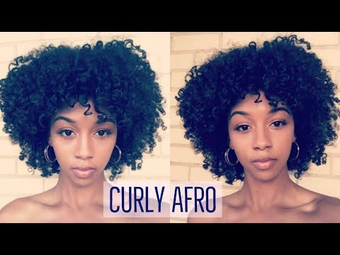 Defined Curly Afro on Natural Hair( With refreshing & fluffing )