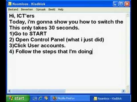 ICT - Change the default Windows XP login to a safety login