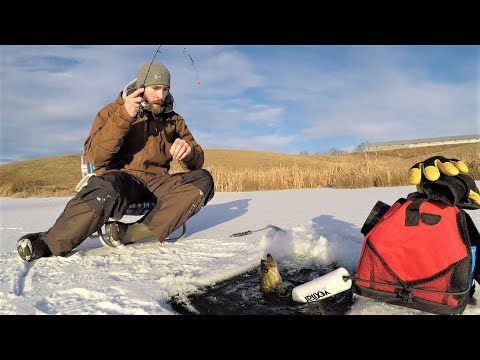 ICE FISHING Bass, Bluegill & Crappie with WAX WORMS