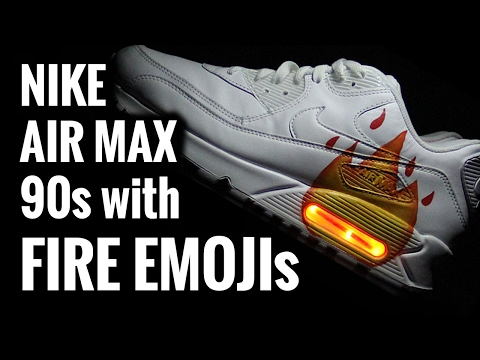🔥  FIRE EMOJI 🔥 LIGHT UP SHOES | Custom Nike Air Max 90s
