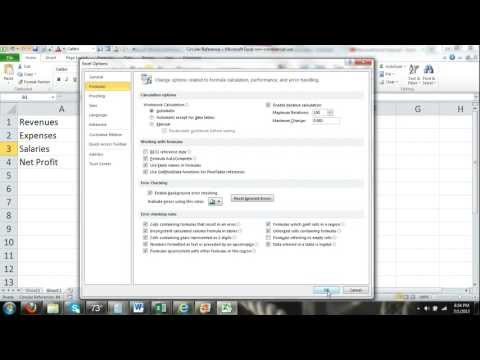 Excel 2010 Tutorial Circular Reference Warning & Enabling Iterative Calculations