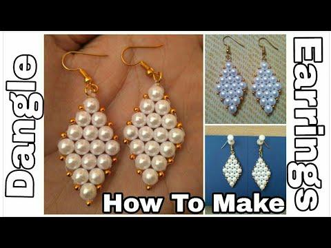 How to make Pearl Dangle Earrings || Pearl Earrings Making at Home || Designer Hand Made Earrings ||