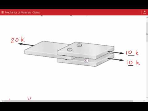 Average Shear Stress in Bolt for Double Shear Simple Connection, Mechanics of Materials Example 3