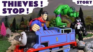 Thomas The Train  helps Avengers Hulk and Superman vs Venom and Ultron | DC Ooshie theft