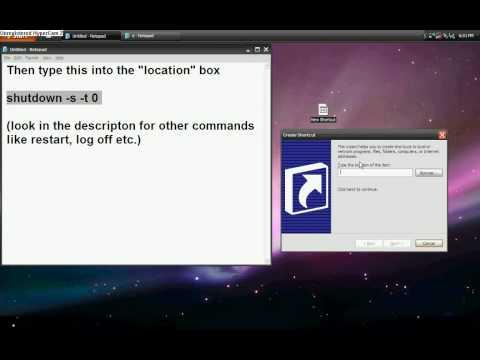How to make a shut down, restart, hibernate or log off icon/shortcut.