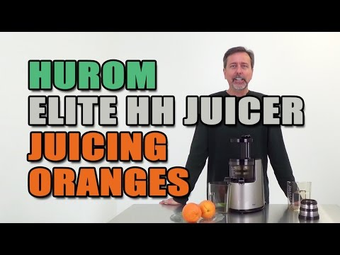 Hurom Elite HH Juicer Juicing Oranges