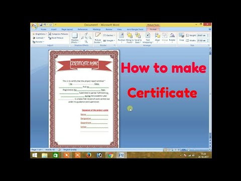 How to make a certificate in Ms word