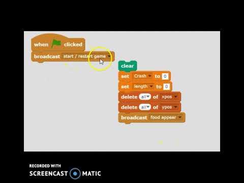 Coding Scratch Games: Snake 17 Restart Game Handler