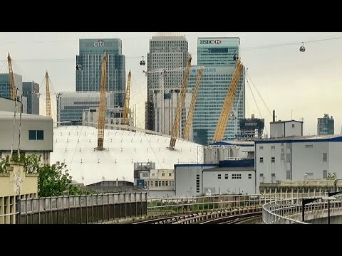 London. Riding the DLR Train from Woolwich Arsenal to Bank via London City Airport