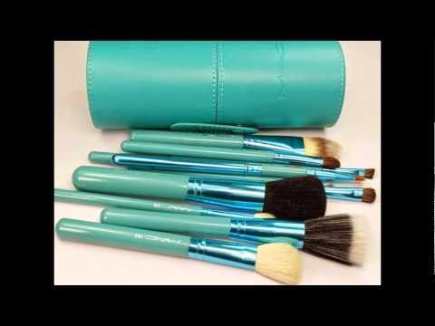 New MAC Professional Makeup Brush Set 12 pcs Kit, purple, black, blue, green, pink, red