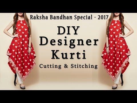 DIY Designer Triangle Kurti Cutting & Stitching    Rakhi Special 2017