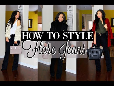HOW TO STYLE FLARE JEANS | 5 WAYS to WEAR WIDE LEG PANTS - LOOKBOOK + Outfits of the Week