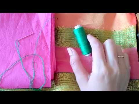 How to stitch saree fall at home.