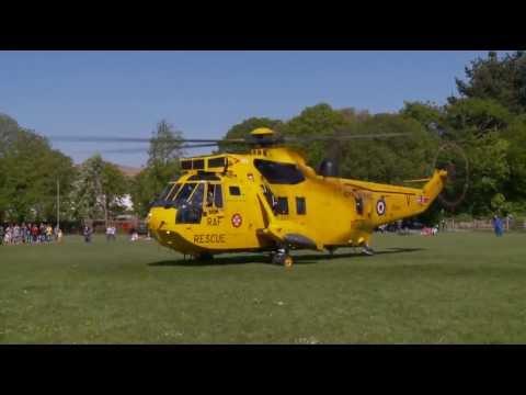 Sea King Helicopter Lands in Rock Park Barnstaple