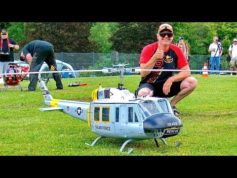 STUNNING AMAZING BELL UH1-H HUEY BIG RC SCALE MODEL TURBINE HELICOPTER FLIGHT DEMONSTRATION