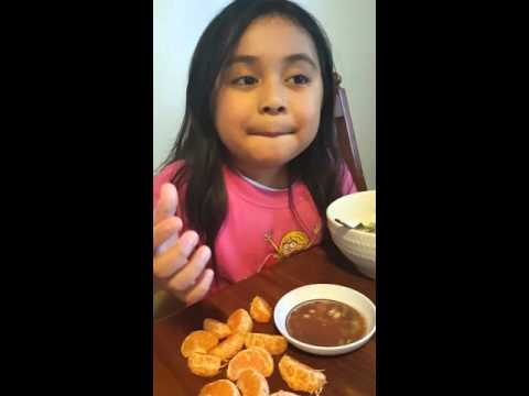 Oranges dipped in Bagoong Balayan with lemon extract