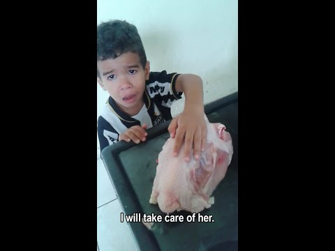 Little Boy wants his Mommy to Leave the Chicken Alone