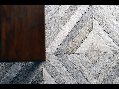 Gray Diamond Patchwork Cowhide Rug Design No. 284 by Shine Rugs