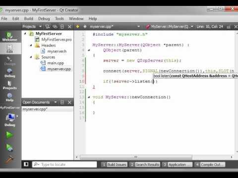 C++ Qt 67 - QTCPServer - a basic TCP server application