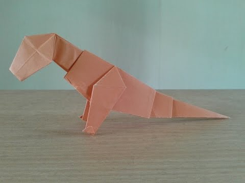 How To Make a Paper  Dinosaur T-REX Easy Origami