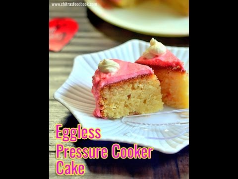 How to make cake in pressure cooker - Eggless Vanilla sponge cake in a pressure cooker