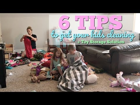 6 TIPS TO GET YOUR KIDS CLEANING // CLEAN WITH ME PLAYROOM // TOY STORAGE SOLUTION